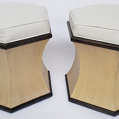 Pair of Hexagonal Leather Top Stools