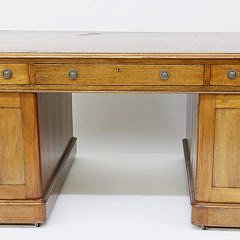 English Regency Mahogany Leather Top Partner's Desk, 19th Century
