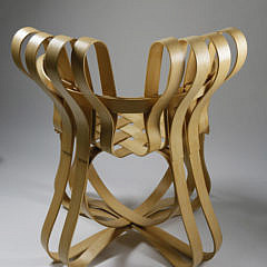 """Frank Gehry for Knoll Signed Apple Basket """"Cross Check"""" Armchair, circa 1999"""