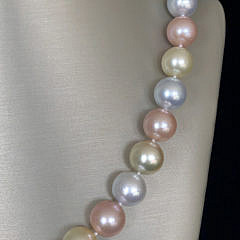 Fine South Sea Pearl and Pink Freshwater Pearl Necklace, 14k White Gold Ball Clasp