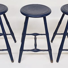 Three Hand-crafted Windsor Style Faux Bamboo Turned Barstools