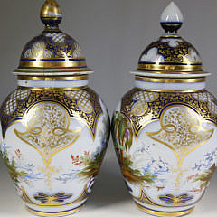 Pair of Charles X Vieux Paris Porcelain Covered Jars in Chinoiserie Manner, circa 1820-30