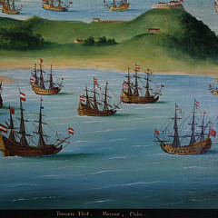 "Contemporary Oil on Board ""Treasure Fleet Havana Cuba"", Initialed Lower Right G.P.F"