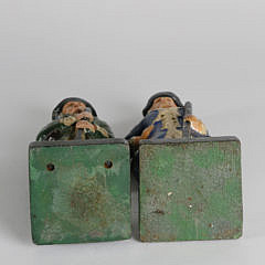 Two Cast Iron Hand Painted Colonial Minute Man Doorstops