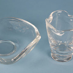 Signed Steuben Clear Crystal Ashtray and Toothpick Holder
