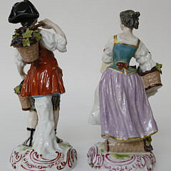 Pair of Sevres Porcelain Figures of Grape Harvesters, 19th Century