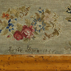 Signed and Dated Needlepoint Cocktail Table, circa 1855