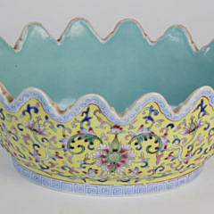 Chinese Famille Rose Fluted Rim Oval Bowl, 19th Century