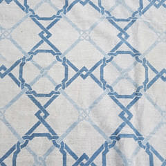 Hand Knotted Wool Blue and White Geometric Needlepoint Carpet