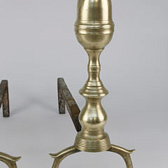 Pair of Brass Petite Bullet Top Andirons, Early 19th Century
