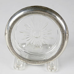 Set of 8 Sterling Silver and Crystal Coasters