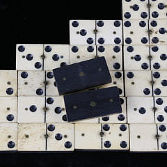 Complete Set of 19th Century Bone and Ebony Dominoes
