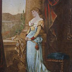 Miniature Portrait Oil on Board of a Woman, 19th Century