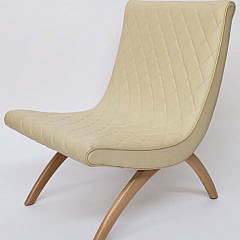 Mid-Century Style Quilted Leather Slipper Chair