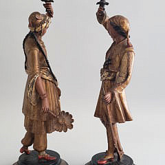 Two 19th Century Balkan Polychromed Figural Candlesticks