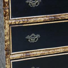 French Three Drawer Bamboo Mirrored Dresser, 19th Century