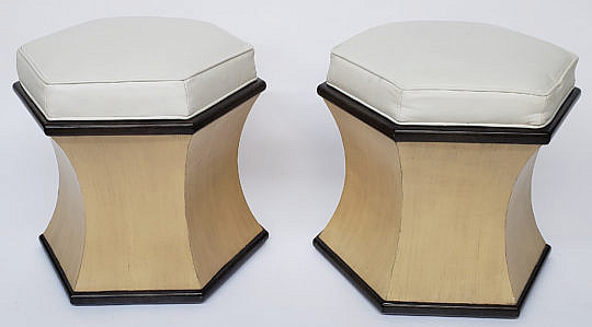 29-3978 Hexagonal Leather Stools A