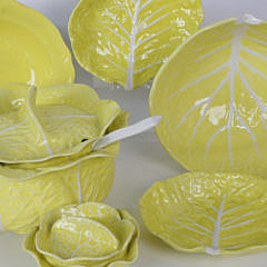101 Piece Lemon Federalist Ironstone and Secla Cabbage Leaf Pattern Dinner Service
