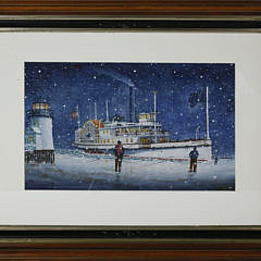 """2-4837 John Hutchinson """"Nantucket Sidewheeler Rounding an Icy and Snowy Brant Point Light"""" A_MG_6718"""