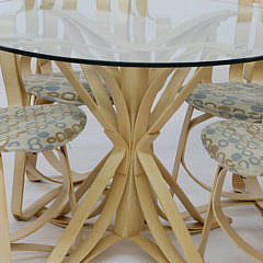 """Frank Gehry for Knoll Vintage """"Face Off"""" Glass Top Table and 4 """"Hat Trick"""" Bentwood Armchairs"""