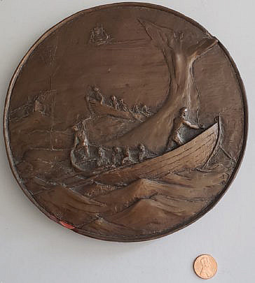 2183-955 Bronze Whaling Plaque A