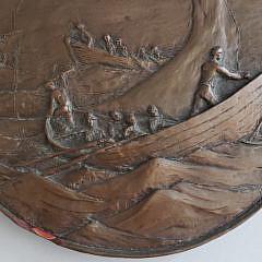 Vintage Bronze Relief Whaling Scene Plaque