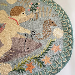 Vintage Claire Murray Dolphin Hand Hooked Rug