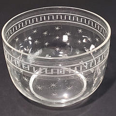Six Antique Star Etched Crystal Finger Bowls