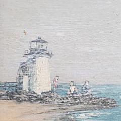 "Val McGann Nantucket Oil on Board, ""Brant Point Lighthouse"""