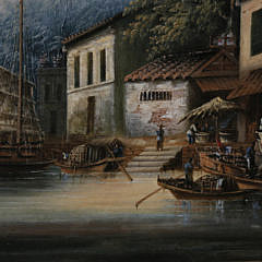 "China Trade Oil on Canvas ""Riverside Market"", circa 1870"