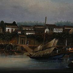 "China Trade Oil on Canvas ""Riverside Village Harbor"", circa 1870"
