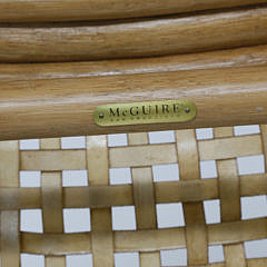 McGuire of San Francisco Oak and Leather Woven Window Bench