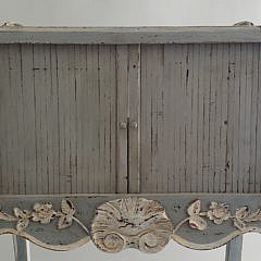 French Lime Washed Decorated Tambour Side Table