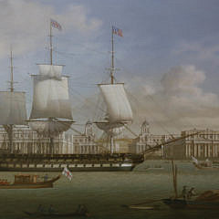 """Louis Dodd Oil on Canvas """"American Warship on the Thames Passing Greenwich"""""""