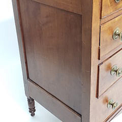 American Sheraton Cherry and Birch Four Drawer Chest of Drawers, 19th Century