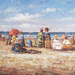 """Two Decorative Oil on Board Paintings, """"Beachside Victorians"""""""