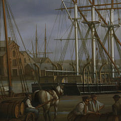 """Louis Dodd Oil on Panel """"American Active Commercial Dock Scene"""", 20th Century"""