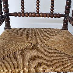 English Oak Rush Seat Spool Armchair, 19th Century