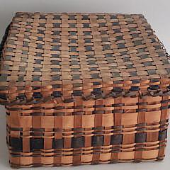Antique New England Multicolor Splint Woven Lidded Basket
