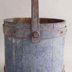 19th Century American Blue Painted Firkin