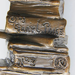 """Two Gary Lee Price Bronze Sculptures """"Young Child Seated at the Arch of Books"""""""