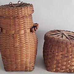 35-4940 Two Splint Woven Baskets A