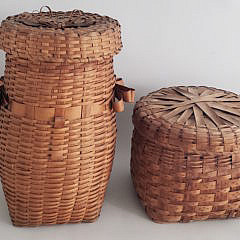 Two Antique American Splint Woven Lidded Baskets