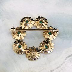 14K Yellow Gold Cabochon Emerald Flower Circular Pin