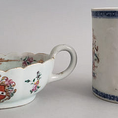 Chinese Export Tankard and Armorial Sauce Boat, 19th Century