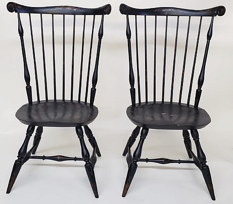 4-4091 Pair Warnick Windsor Chairs A