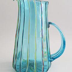 Robert Dane Hand Blown Polychrome Art Glass Pitcher