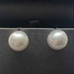 11.5mm White Fresh Water Pearl Earrings, 14k Gold