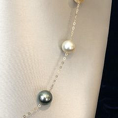 18k Gold South Sea White, Gold and Tahitian Grey Pearl Tin Cup Necklace