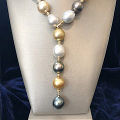 16mm – 12.5mm Multicolor South Sea Pearl Lariat Necklace
